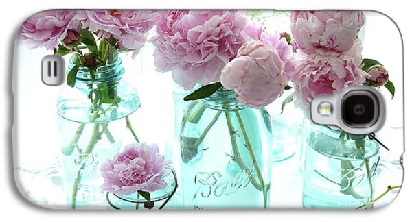 Garden Peonies In Blue Aqua Mason Ball Jars - Cottage Shabby Chic Peonies Print And Home Decor Galaxy S4 Case