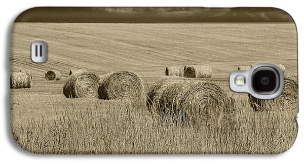 Summer Harvest Field With Hay Bales In Sepia Galaxy S4 Case