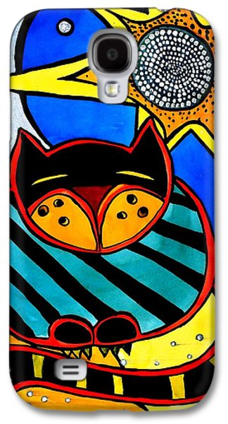 Galaxy S4 Case featuring the painting Sun And Moon - Honourable Cat - Art By Dora Hathazi Mendes by Dora Hathazi Mendes