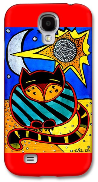 Sun And Moon - Honourable Cat - Art By Dora Hathazi Mendes Galaxy S4 Case by Dora Hathazi Mendes