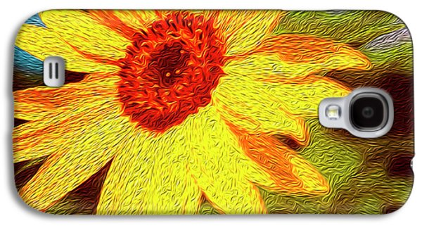Sunflower Abstract Galaxy S4 Case by Les Cunliffe