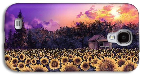 Sunflower Field Purple Galaxy S4 Case