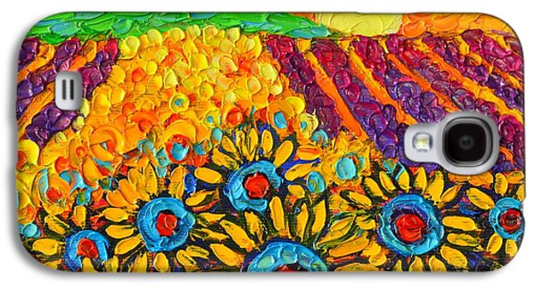 Sunflowers And Lavender At Sunrise Palette Knife Oil Painting By Ana Maria Edulescu Galaxy S4 Case