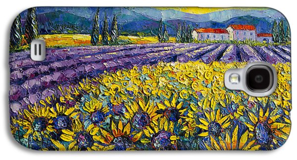 Sunflowers And Lavender Field - The Colors Of Provence Galaxy S4 Case by Mona Edulesco