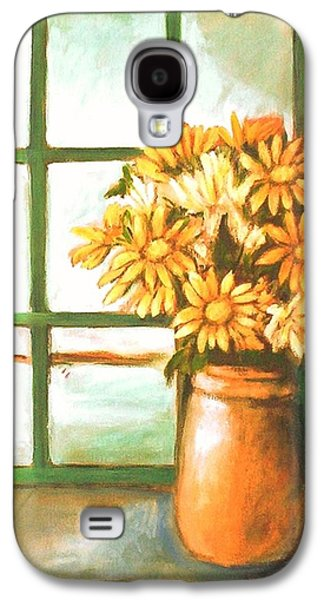 Galaxy S4 Case featuring the painting Sunflowers In Window by Winsome Gunning