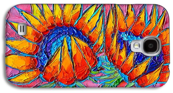 Sunflowers Love - Modern Colorful Floral Original Palette Knife Oil Painting By Ana Maria Edulescu Galaxy S4 Case