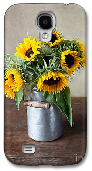 Floral Digital Galaxy S4 Cases - Sunflowers Galaxy S4 Case by Nailia Schwarz