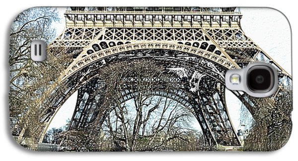 Sunlit Base And First Floor The Eiffel Tower In Early Springtime Paris France Colored Pencil Digital Galaxy S4 Case