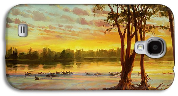 Geese Galaxy S4 Case - Sunrise On The Columbia by Steve Henderson