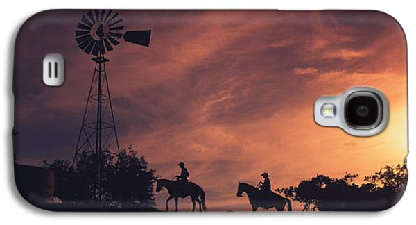 Sunset, Cowboys, Texas, Usa Galaxy S4 Case by Panoramic Images