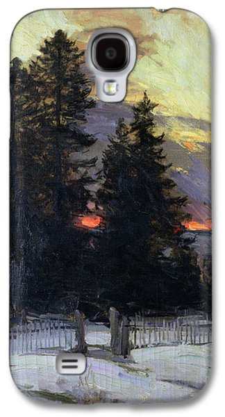 Sunset Over A Winter Landscape Galaxy S4 Case by Abram Efimovich Arkhipov