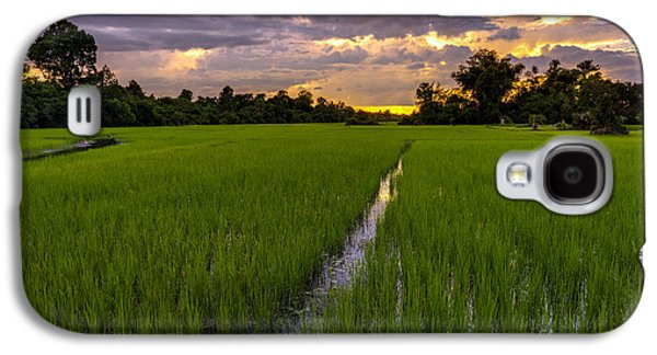 Sunset Rice Fields In Cambodia Galaxy S4 Case by Mike Reid