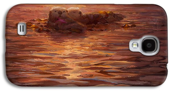 Otter Galaxy S4 Case - Sunset Snuggle - Sea Otters Floating With Kelp At Dusk by Karen Whitworth