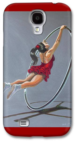 Supergirl On Cyr Wheel  Galaxy S4 Case by MAD Art and Circus