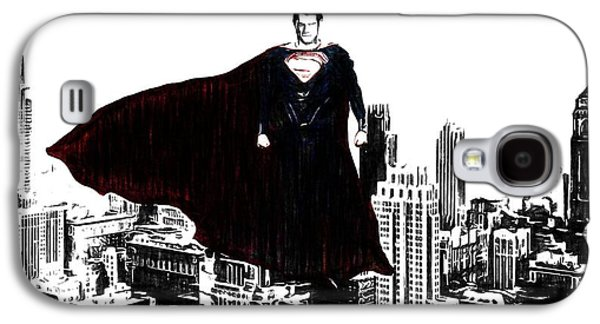 Superman In Manhattan Comic Charcoal Galaxy S4 Case by Dan Sproul