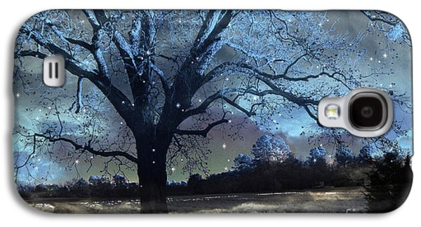 Surreal Fantasy Fairytale Blue Starry Trees Landscape - Fantasy Nature Trees Starlit Night Wall Art Galaxy S4 Case by Kathy Fornal
