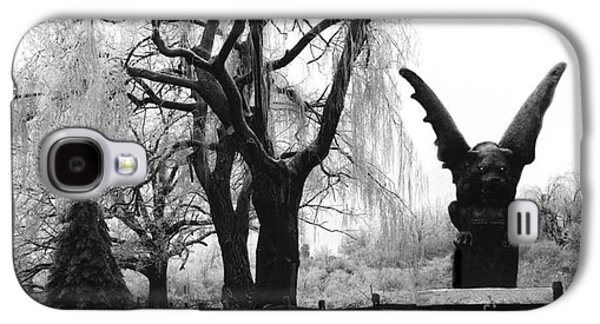 Surreal Gothic Gargoyle Black And White Tree Infrared Landscape  Galaxy S4 Case by Kathy Fornal