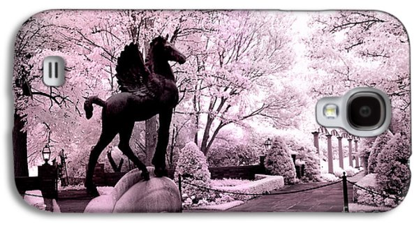 Surreal Infared Pink Black Sculpture Horse Pegasus Winged Horse Architectural Garden Galaxy S4 Case by Kathy Fornal