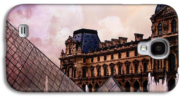 Louvre Galaxy S4 Case - Surreal Louvre Museum Pyramid Watercolor Paintings - Paris Louvre Museum Art by Kathy Fornal