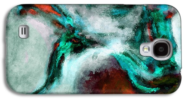 Surrealist And Abstract Painting In Orange And Turquoise Color Galaxy S4 Case by Ayse Deniz