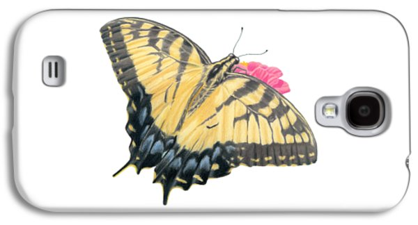 Swallowtail Butterfly And Zinnia- Transparent Backgroud Galaxy S4 Case