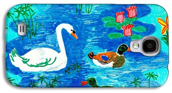 Bird Ceramics Galaxy S4 Cases - Swan and two ducks Galaxy S4 Case by Sushila Burgess