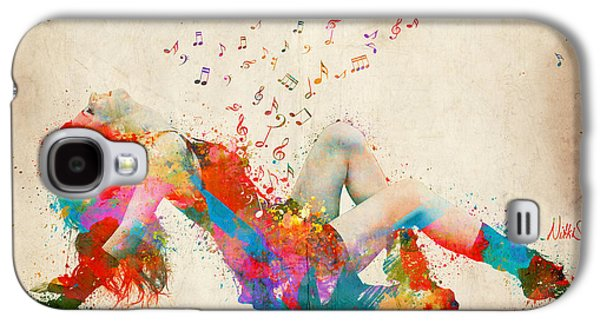 Girl Galaxy S4 Cases - Sweet Jenny Bursting with Music Galaxy S4 Case by Nikki Smith