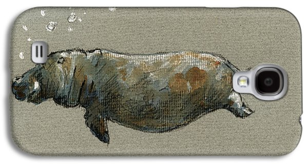 Swimming Hippo Galaxy S4 Case by Juan  Bosco