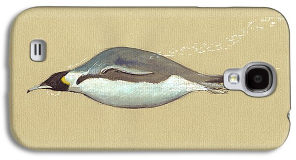 Swimming Penguin Painting Galaxy S4 Case by Juan  Bosco