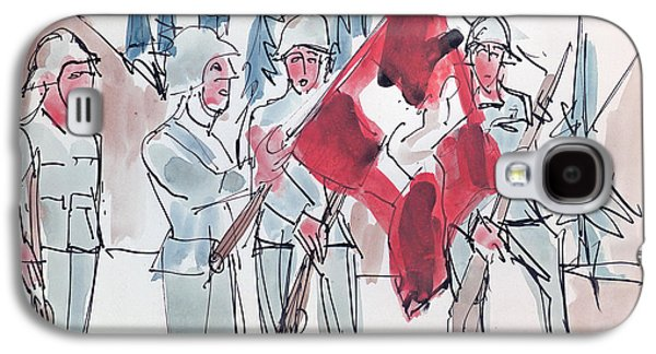 Swiss Soldiers With Flag Galaxy S4 Case by Ernst Ludwig Kirchner