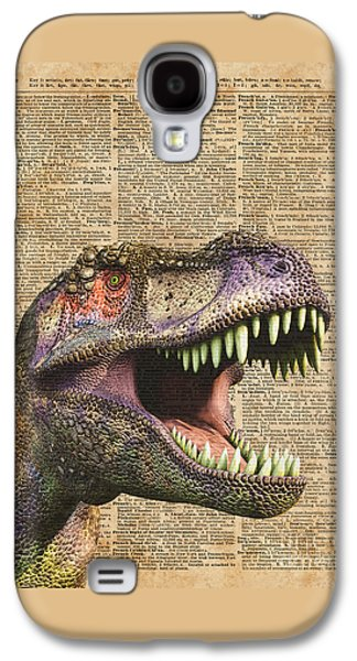 T-rex,tyrannosaurus,dinosaur Vintage Dictionary Art Galaxy S4 Case by Jacob Kuch
