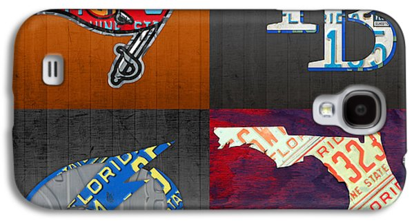 Tampa Bay Sports Fan Recycled Vintage Florida License Plate Art Bucs Rays Lightning Plus State Map Galaxy S4 Case by Design Turnpike