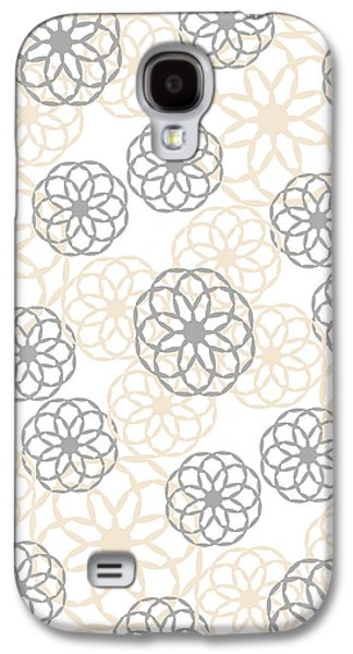 Tan And Silver Floral Pattern Galaxy S4 Case by Christina Rollo