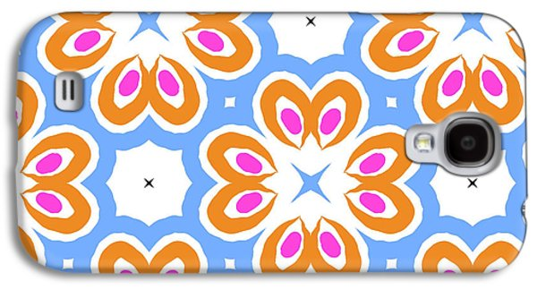 Tangerine And Sky Floral Pattern- Art By Linda Woods Galaxy S4 Case by Linda Woods