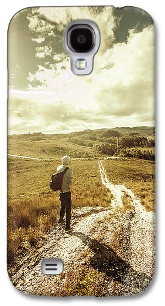 Tasmanian Man On Road In Nature Reserve Galaxy S4 Case