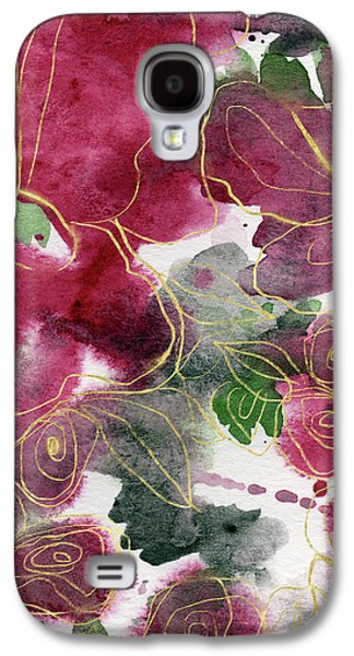 Floral Abstract Galaxy S4 Case - Tea Cup Roses- Art By Linda Woods by Linda Woods