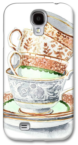 Teacups Collection Antique Watercolor Painting - Mismatched Green Gold Tea Party Alice In Wonderland Galaxy S4 Case by Laura Row
