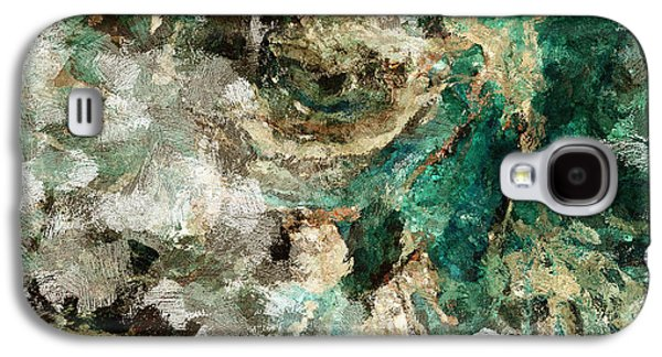 Teal And Cream Abstract Painting Galaxy S4 Case by Ayse Deniz