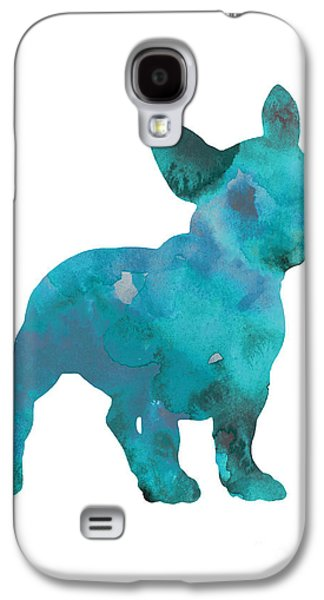 Dog Galaxy S4 Case - Teal Frenchie Abstract Painting by Joanna Szmerdt