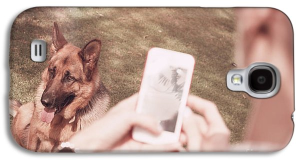 Teen Girl Taking Photo Of Dog With Smartphone Galaxy S4 Case