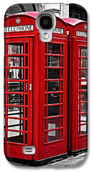 English Galaxy S4 Cases - Telephone boxes in London Galaxy S4 Case by Elena Elisseeva