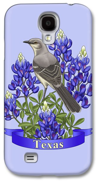 Texas State Mockingbird And Bluebonnet Flower Galaxy S4 Case by Crista Forest