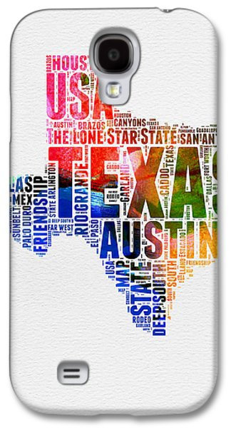 Texas Watercolor Word Cloud  Galaxy S4 Case by Naxart Studio