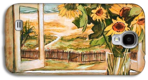 Galaxy S4 Case featuring the painting The Beach Sunflowers by Winsome Gunning