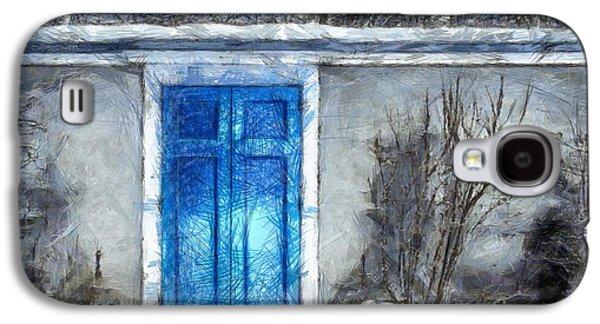 The Blue Door Beckons Pencil Galaxy S4 Case by Edward Fielding