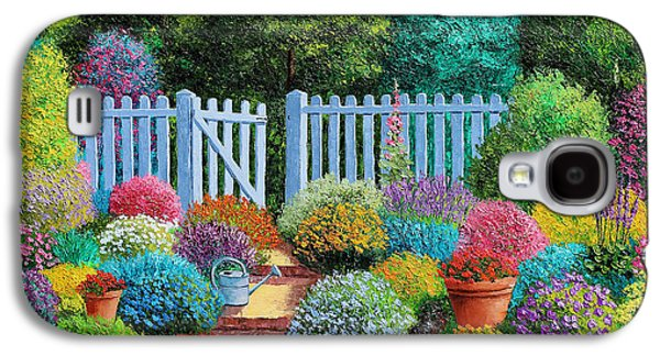 Jeans Galaxy S4 Cases - The Blue Fence Flowers Galaxy S4 Case by Jean Marc Janiacyk