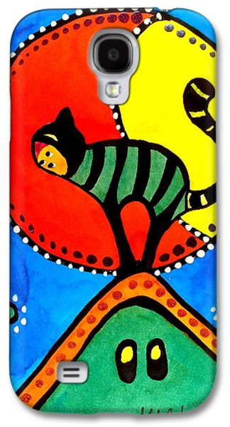 Galaxy S4 Case featuring the painting The Cat And The Moon - Cat Art By Dora Hathazi Mendes by Dora Hathazi Mendes
