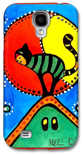 The Cat And The Moon - Cat Art By Dora Hathazi Mendes Galaxy S4 Case by Dora Hathazi Mendes