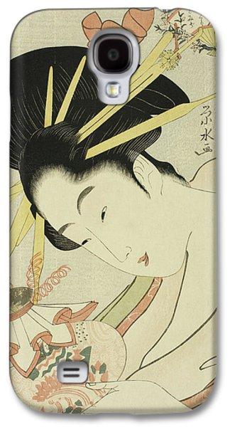 The Courtesan Hanahito Of The Ogiya And Attendants Sakura And Momiji Galaxy S4 Case by Ichirakutei Eisui