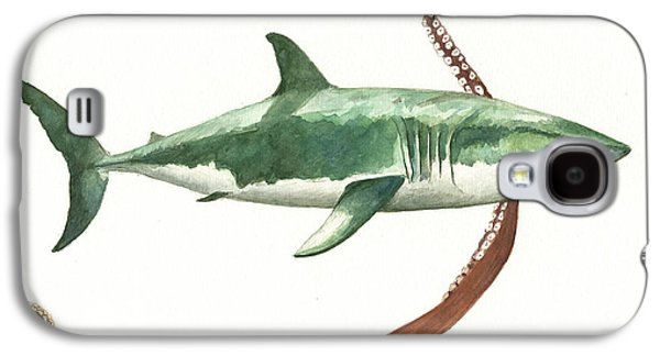 Sharks Galaxy S4 Case - The Great White Shark And The Octopus by Juan Bosco